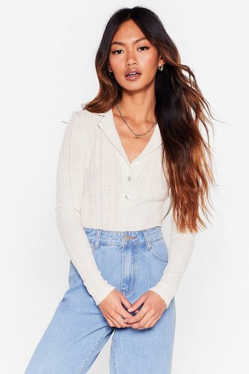 Ivory Let's Kick Knit Ribbed Button-Down Bodysuit