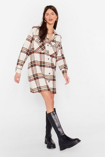 Cream Check It Out Oversized Shirt Dress