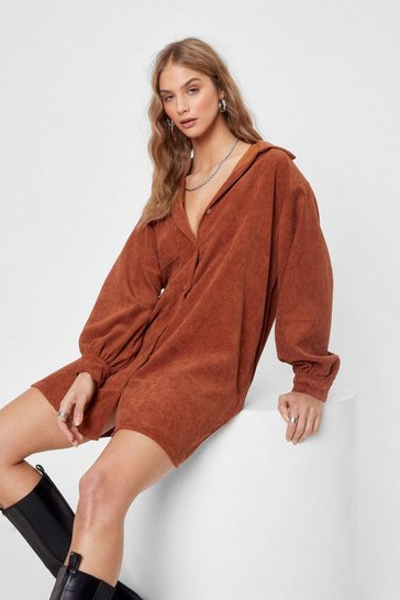 Chocolate We'll Just Be a Mini Corduroy Shirt Dress