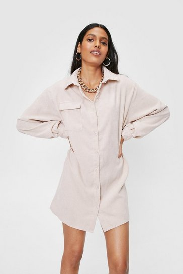 Oatmeal We'll Just Be a Mini Corduroy Shirt Dress
