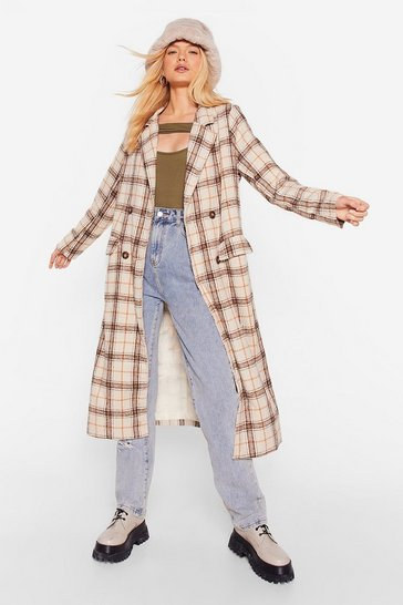 Stone Check Out the Competition Faux Wool Longline Coat