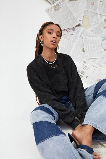 Black Acid Wash This Oversized Sweatshirt