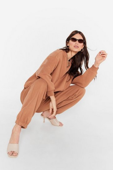 Camel Lounge Around Oversized Sweatshirt and Joggers Set
