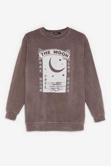Sweat oversize délavé à l'acide à impressions The Moon, Chocolate