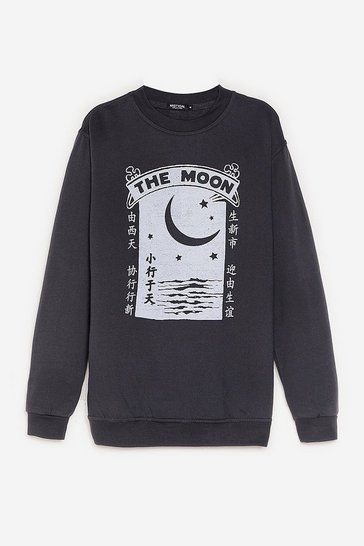 Charcoal The Moon Oversized Graphic Sweatshirt