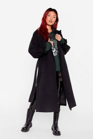 Black Faux Wool You Stay Awhile Belted Oversized Coat