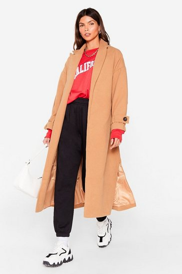 Camel Faux Wool You Stay Awhile Belted Oversized Coat