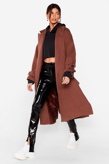 Chocolate Faux Wool You Stay Awhile Belted Oversized Coat