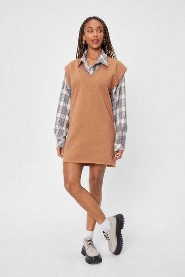 Camel Hey Have V Met Shoulder Pad Mini Dress
