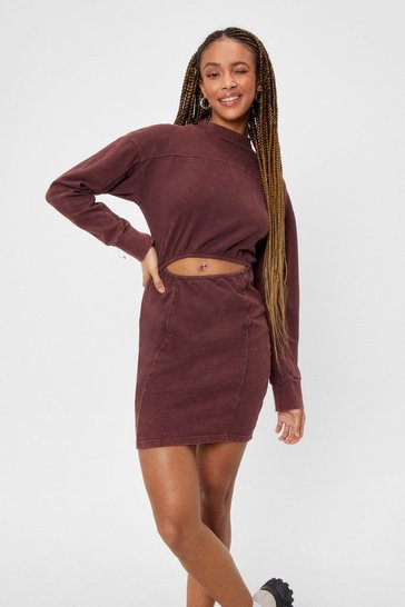 Chocolate Cut Out Fitted Sweatshirt Dress