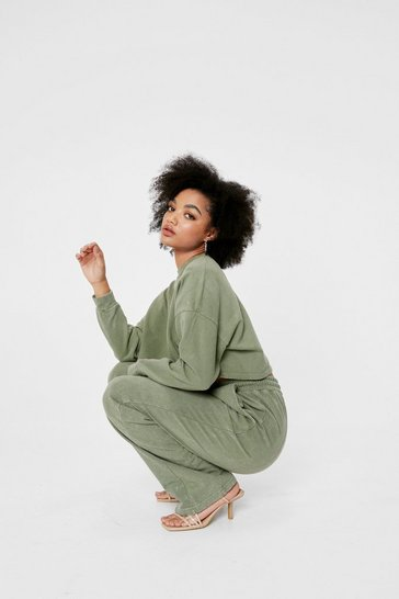 Khaki Petite Sweatshirt and Wide Leg Trousers Set