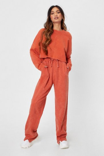Rust Netflix and Chill Petite Wide-Leg Pants Set