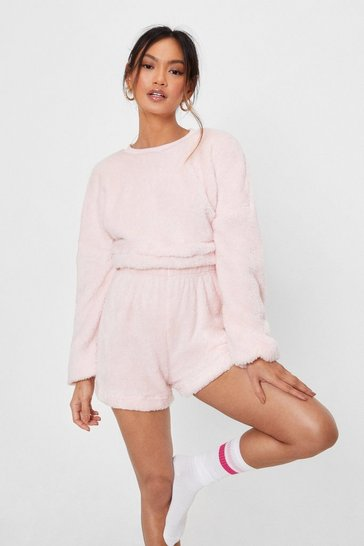 Pink Petite Teddy Top and Shorts Loungewear Set