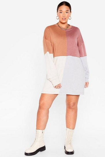 Brown Plus Size Colorblock Sweatshirt Dress