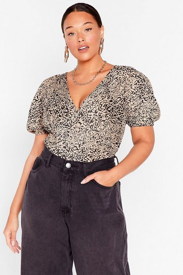 Brown Plisse You Called Plus Leopard Puff Sleeve Bodysuit