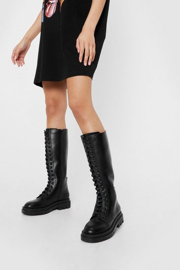 Black Lace Up Calf Biker Boot