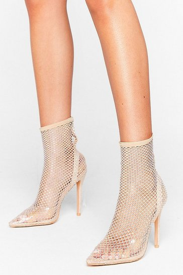 Nude Diamante Heeled Ankle Sock Boots