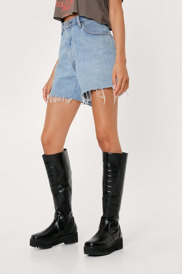 Black Faux Leather Padded Knee High Boots
