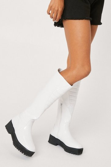 Optic white Faux Leather Padded Knee High Boots