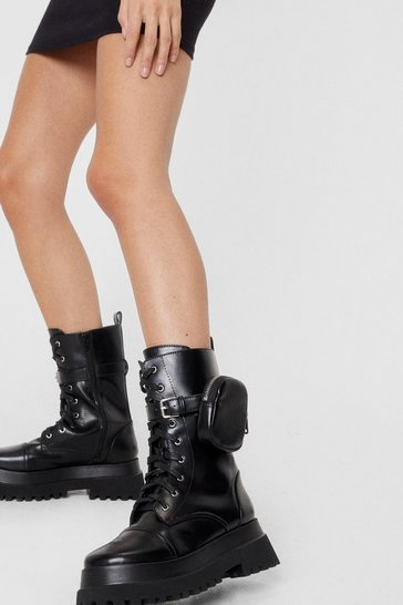Black Faux Leather Pouch Lace Up Chunky Biker Boots