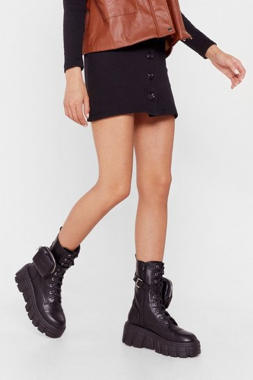 Black Faux Leather Cleated Pocket Biker Boots