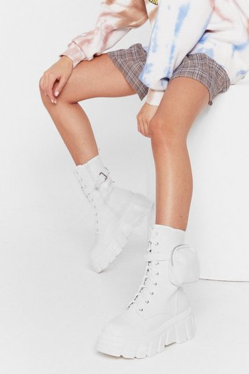 Optic white Faux Leather Cleated Pocket Biker Boots