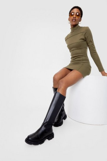 Black Faux Leather Wellie Knee High Boots