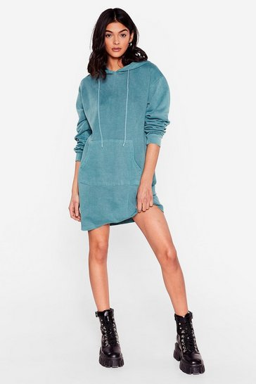 Teal Hey Pull Over Oversized Hoodie Dress