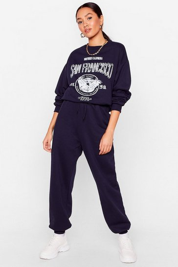 Navy Road Trip Petite Graphic Sweatshirt and Jogger Set