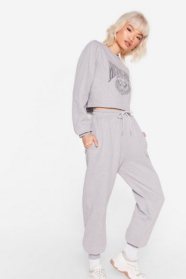 Grey marl Petite Michigan Sweatshirt and Sweatpants Set
