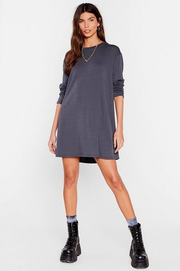 Charcoal Tie Back Sweatshirt Mini Dress