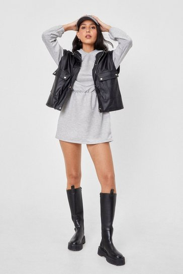 Grey Casual Drawstring Hoodie Dress