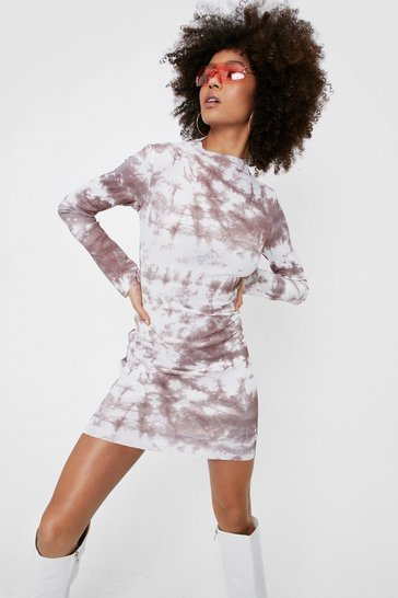 Cream Tie Dye Long Sleeve Bodycon Mini Dress