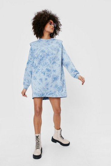 Baby blue Tie Dye Print Padded Shoulder Mini Dress