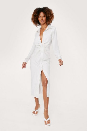 Ivory Ruched Long Sleeve Midi Shirt Dress