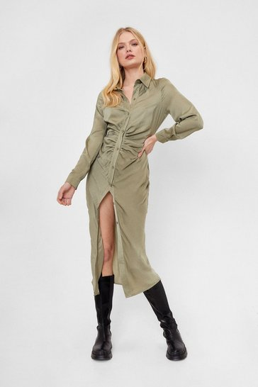 Khaki Ruched Long Sleeve Midi Shirt Dress