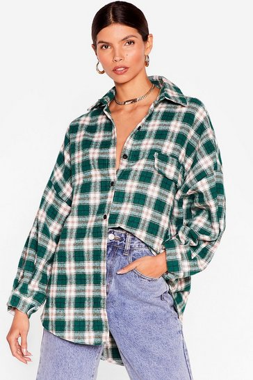 Green Check Back on Track Oversized Shirt