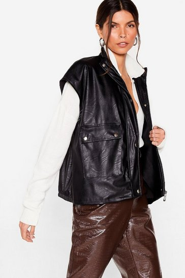 Black Faux Leather Forget You Oversized Gilet