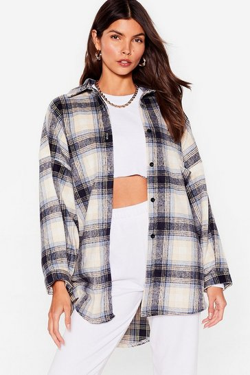 Blue Check With the Program Oversized Shirt