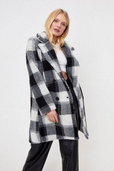 Black Check Faux Fur Coat