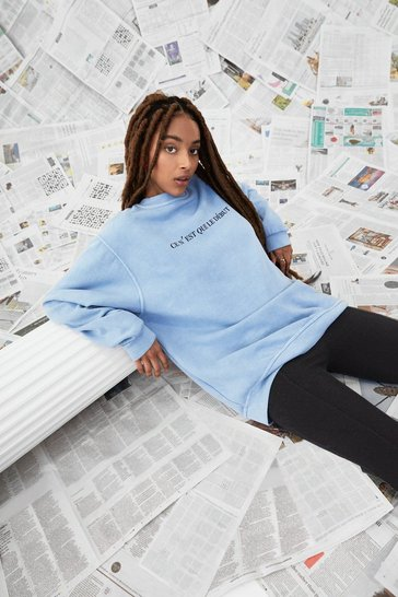 Washed blue In the Beginning Oversized Graphic Sweatshirt