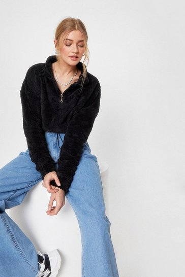 Black Faux Fur On Another Level Cropped Sweatshirt