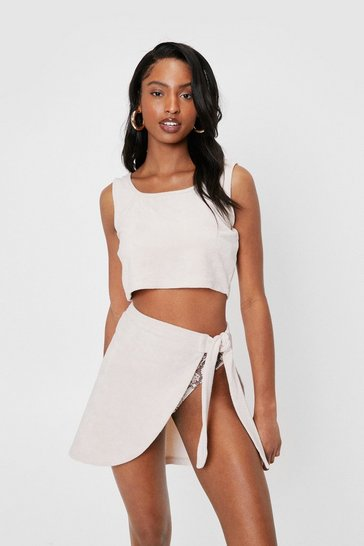 Stone Towelling Cover Up Top and Mini Skirt Set