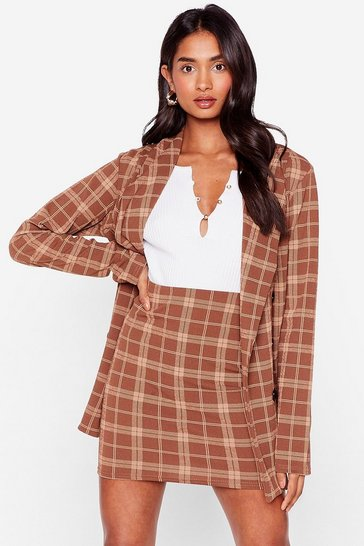 Brown Check High Waisted Bodycon Mini Skirt