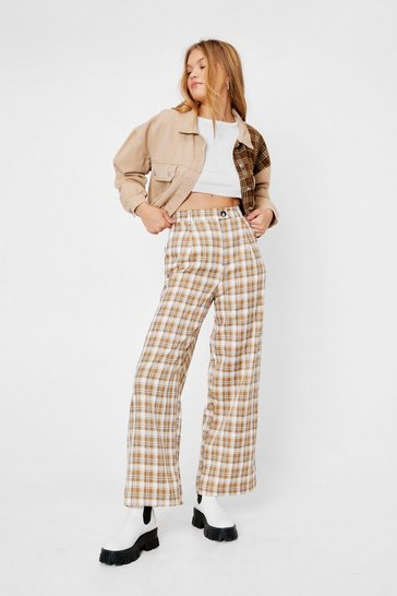 Choc brown Check Print High Waisted Wide Leg Pants