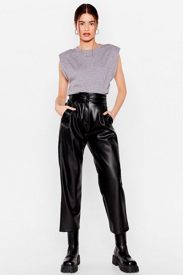 Black We'll Pleat You There Faux Leather Tapered Pants