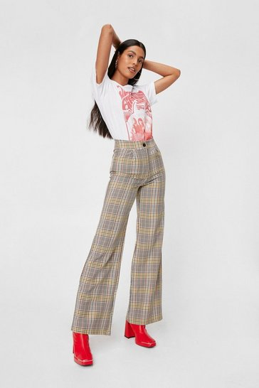 Rust Hold the Line Check Wide-Leg Pants