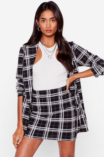 Black Workin' Overtime Check Mini Skirt