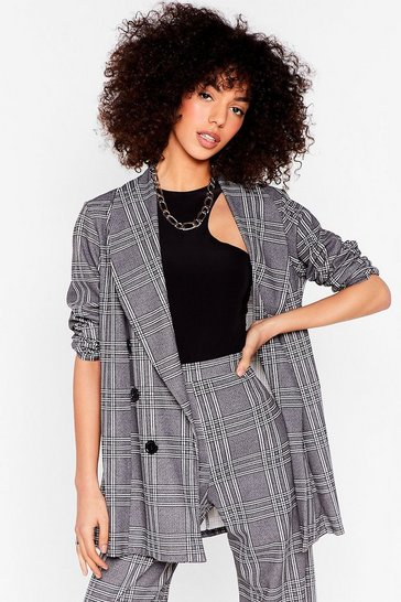 Grey Whatever Works for You Check Oversized Blazer