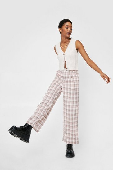 Dusty rose Check Print High Waisted Tapered Pants
